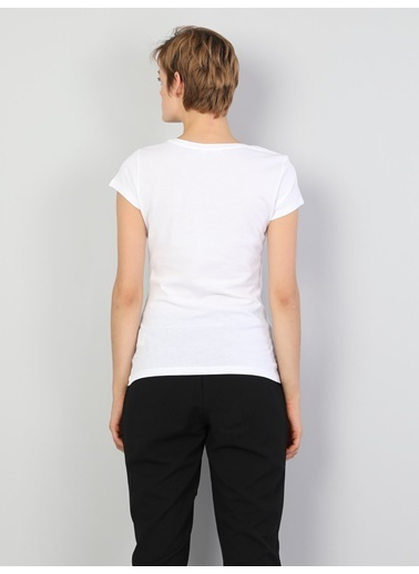 Colin's Regular Kadın Kısa Kol Tişört Beyaz